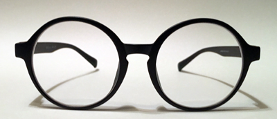 Round prescription glasses side view